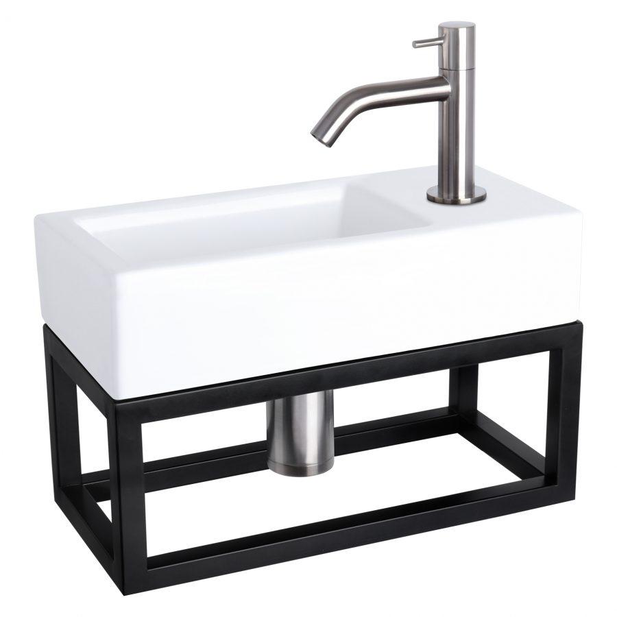 Ravo fonteinset - Keramiek - Kraan gebogen mat chroom - Met handdoekrek