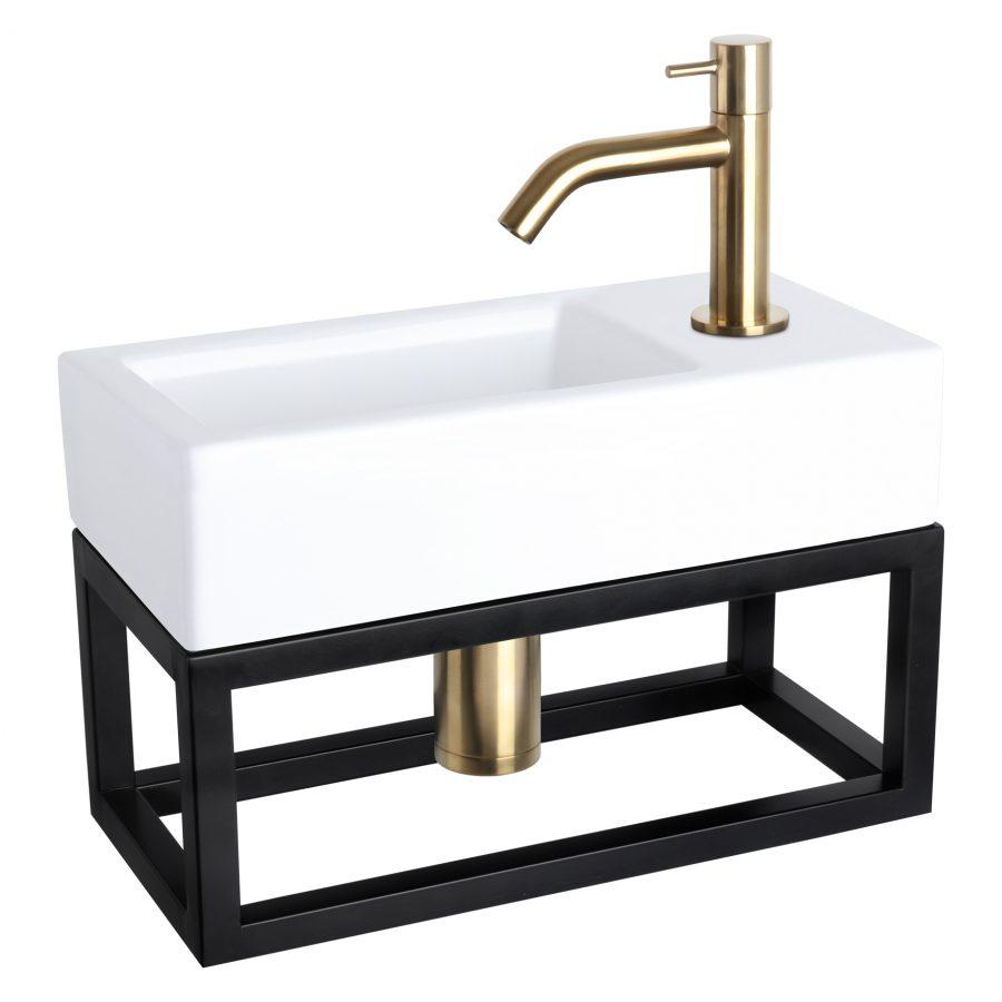 Ravo fonteinset - Keramiek - Kraan gebogen mat goud - Met handdoekrek
