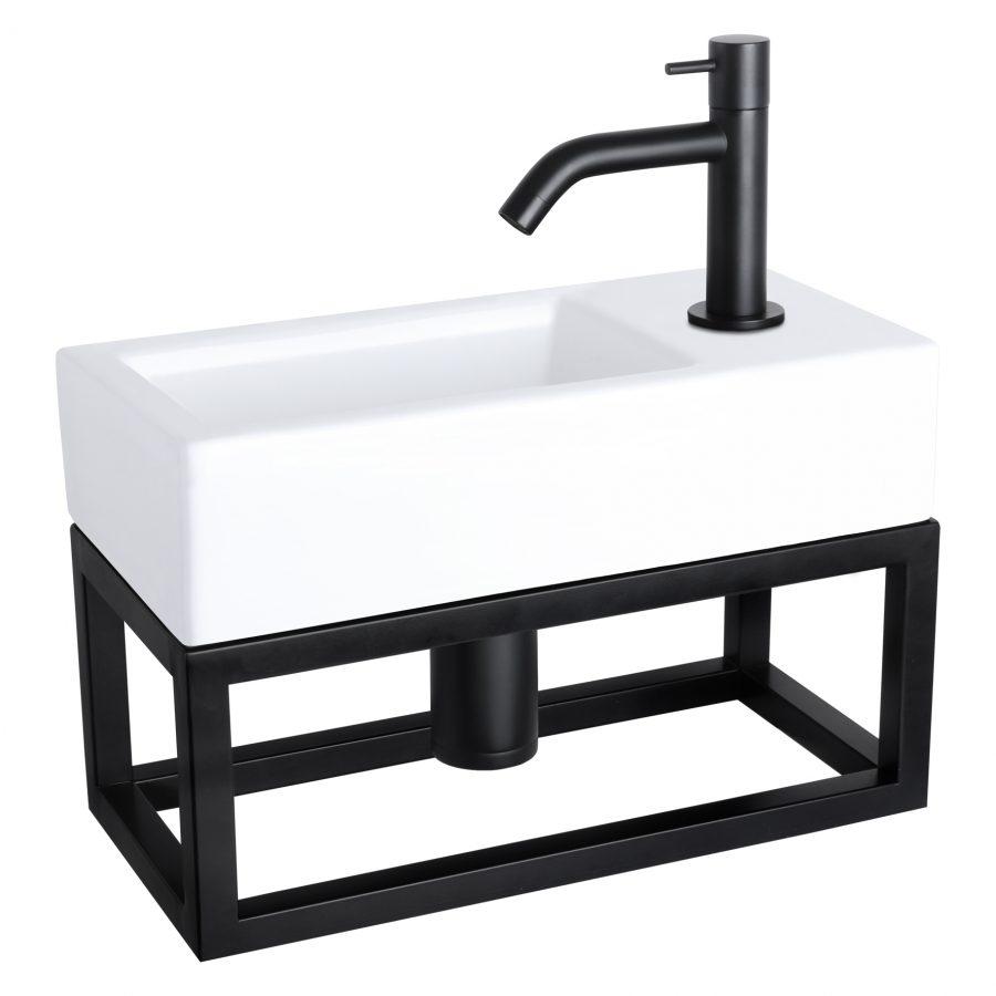 Ravo fonteinset - Keramiek - Kraan gebogen mat zwart - Met handdoekrek
