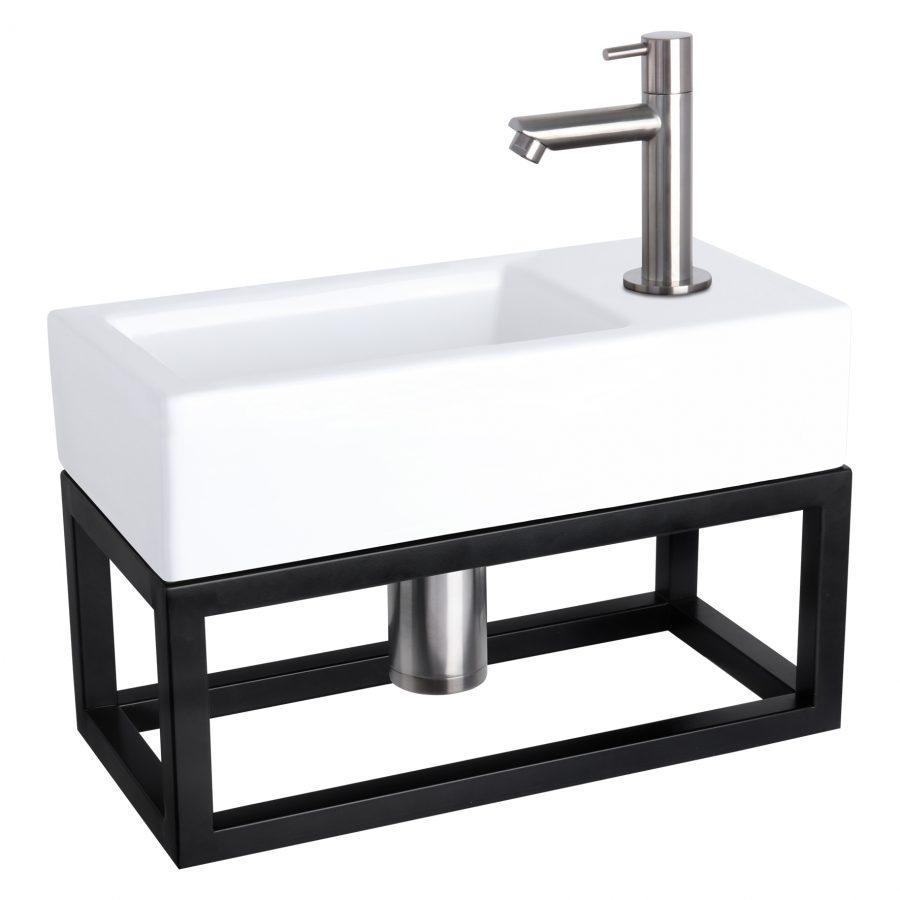 Ravo fonteinset - Keramiek - Kraan recht mat chroom - Met handdoekrek