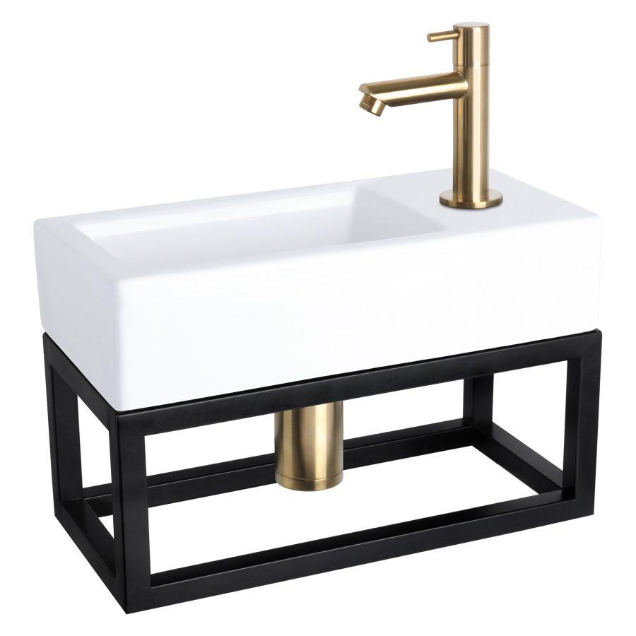 Ravo fonteinset - Keramiek - Kraan recht mat goud - Met handdoekrek