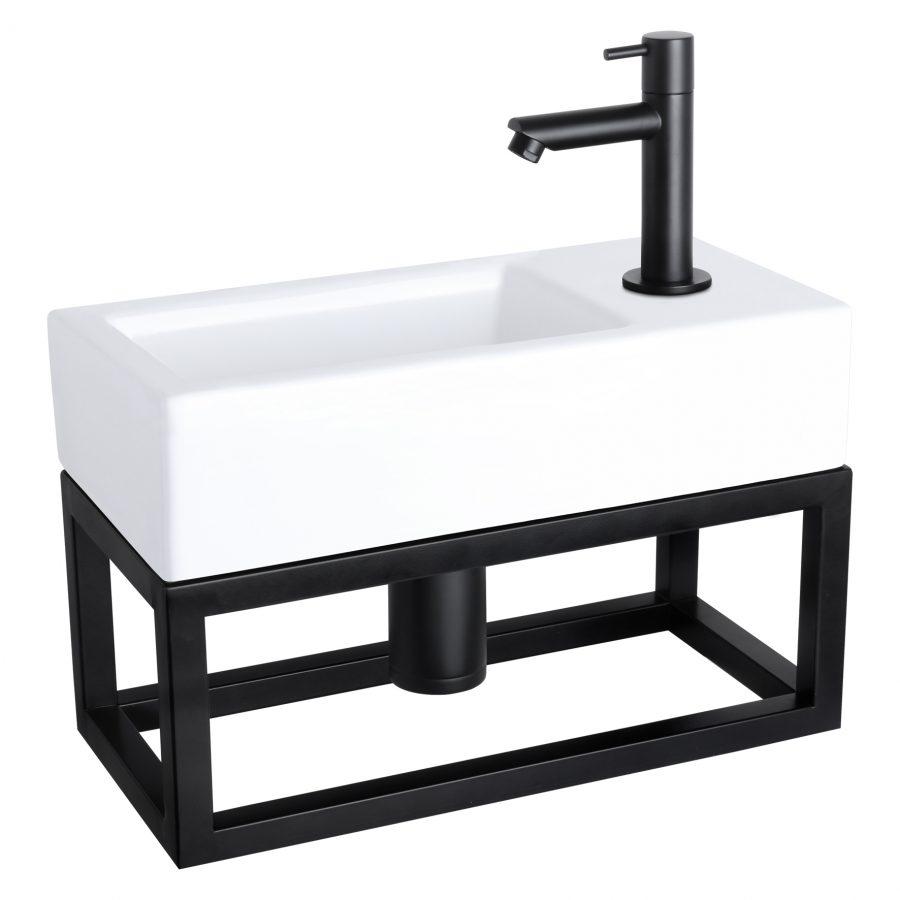 Ravo fonteinset - Keramiek - Kraan recht mat zwart - Met handdoekrek