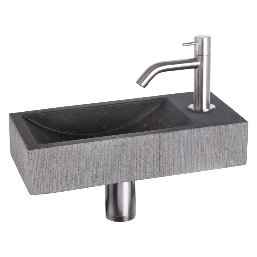 ribble-fonteinset-bombai-black-natuursteen-kraan-gebogen-mat-chroom