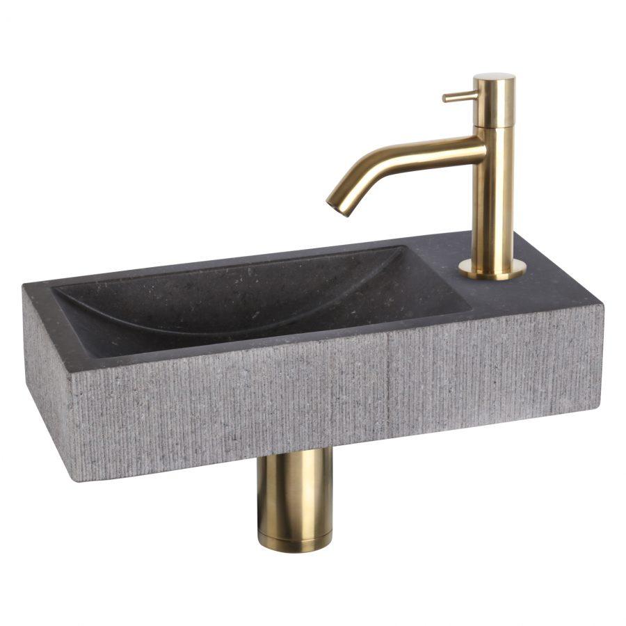 ribble-fonteinset-bombai-black-natuursteen-kraan-gebogen-mat-goud