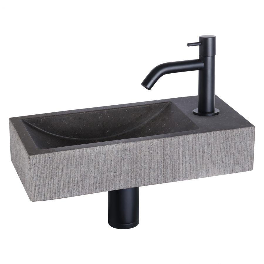 ribble-fonteinset-bombai-black-natuursteen-kraan-gebogen-mat-zwart