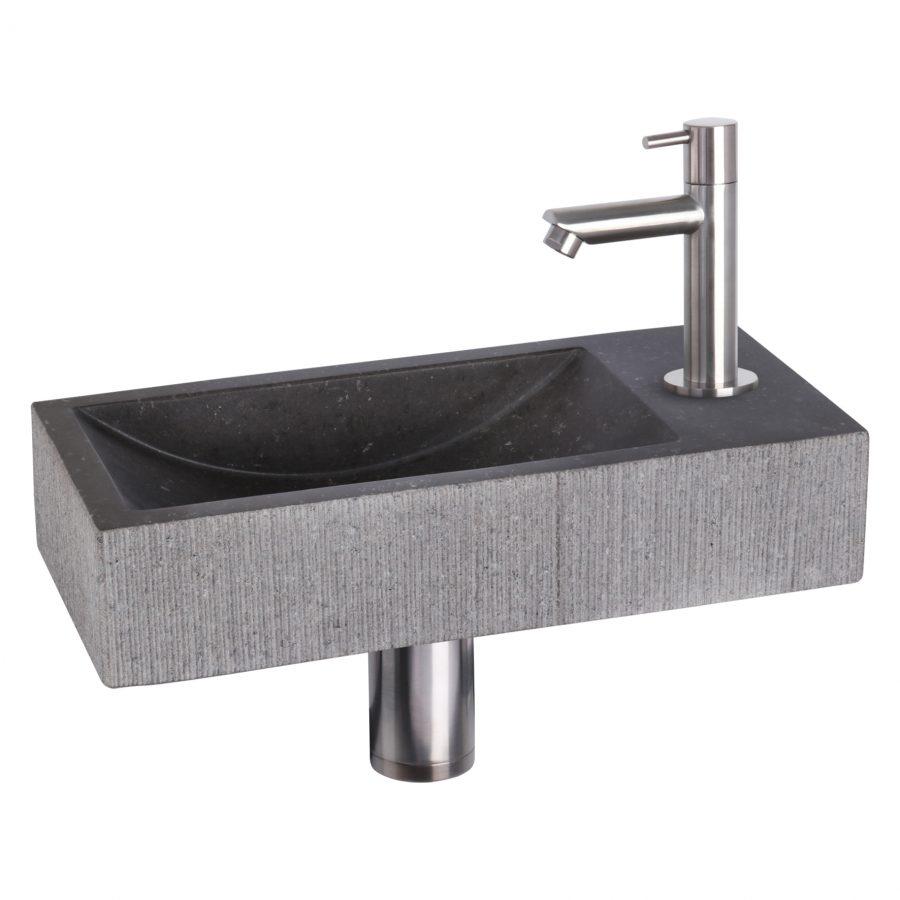 ribble-fonteinset-bombai-black-natuursteen-kraan-recht-mat-chroom