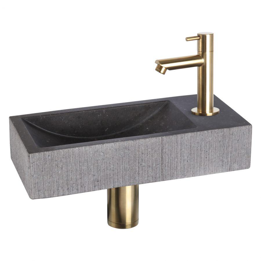 ribble-fonteinset-bombai-black-natuursteen-kraan-recht-mat-goud
