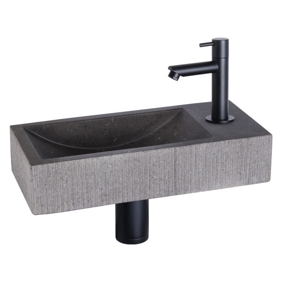 ribble-fonteinset-bombai-black-natuursteen-kraan-recht-mat-zwart
