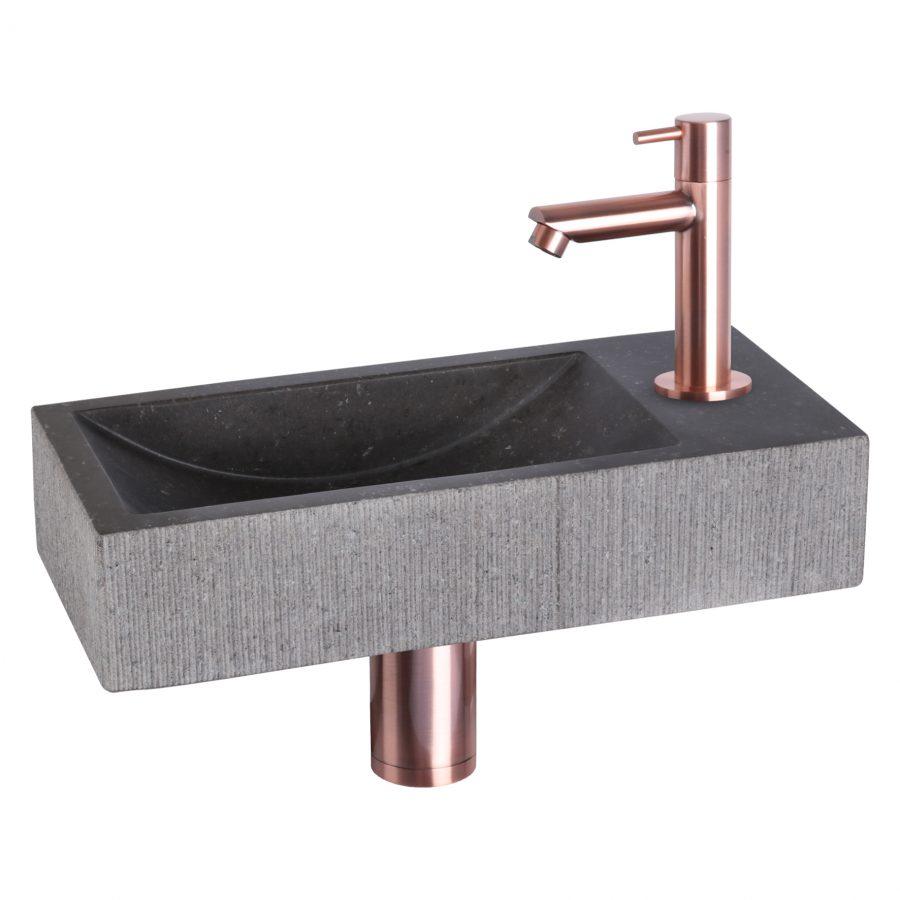 ribble-fonteinset-bombai-black-natuursteen-kraan-recht-rood-koper